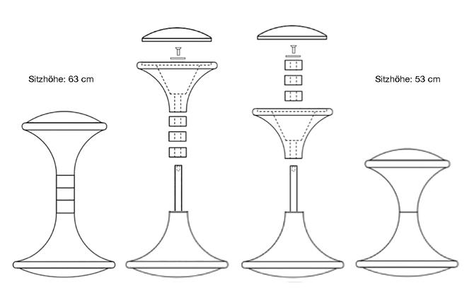 Pendelix-Pendelhocker Sitzhöhen und Montage Zeichnung